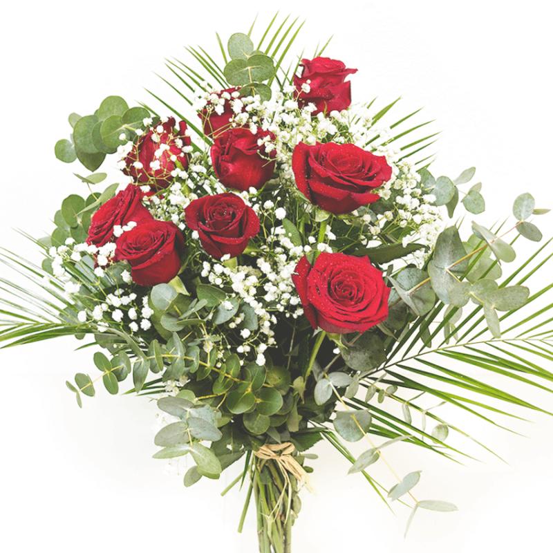 Ramo 9 Rosas Rojas Floresnuevascom