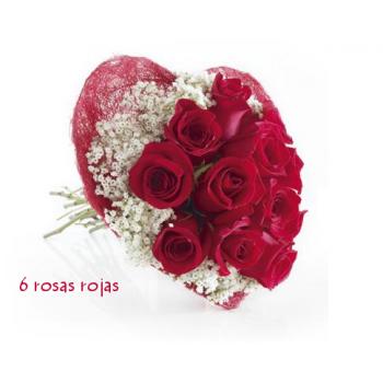 Corazón de 9 rosas rojas
